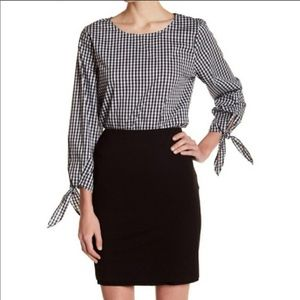 Vince Camuto Gingham Top S EUC